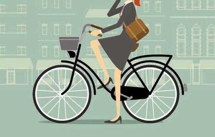 Dessin femme qui fait du vélo