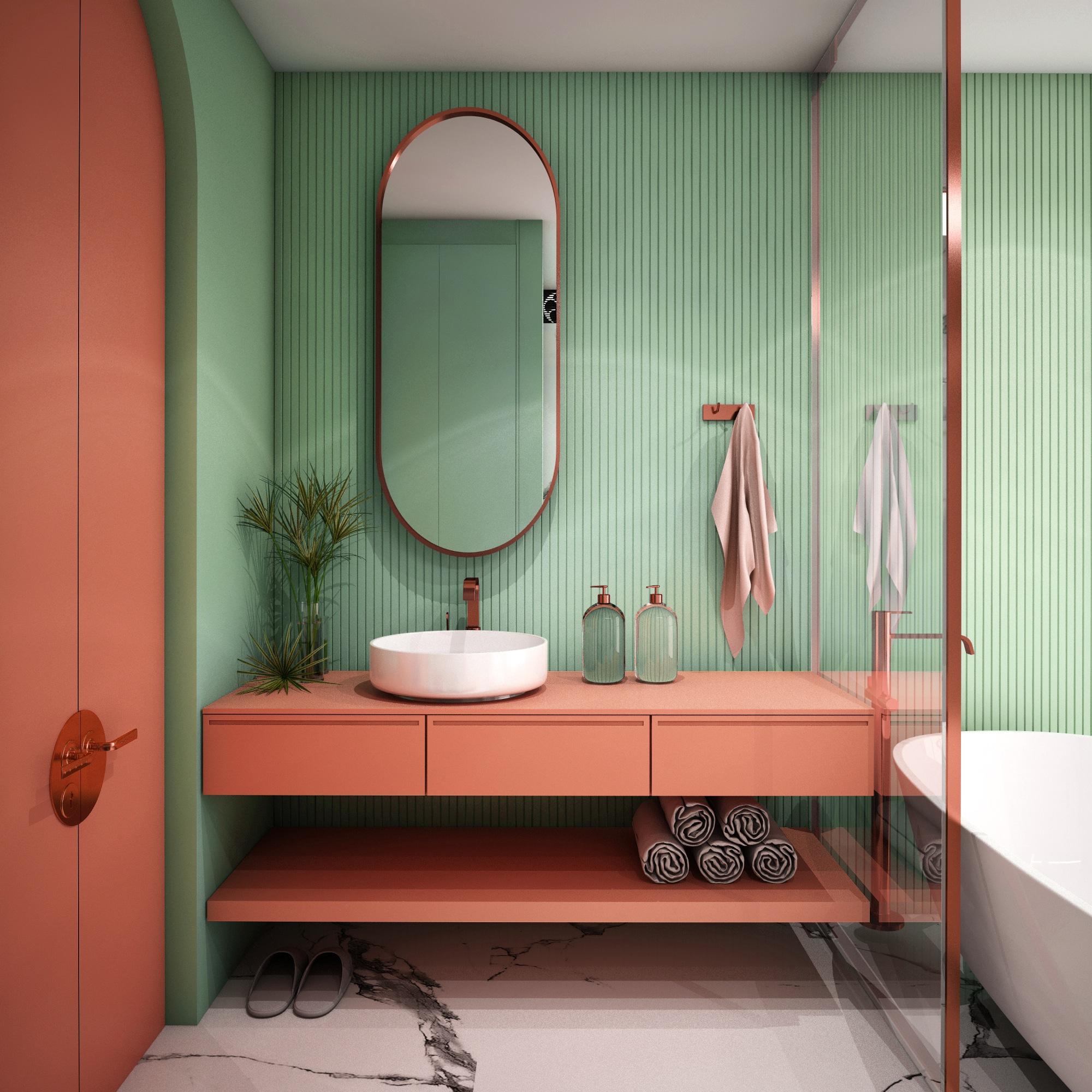 Une salle de bain aux couleurs flashy