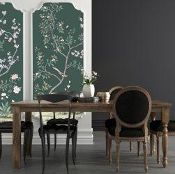 Murs papier peint adhésif et table de salon