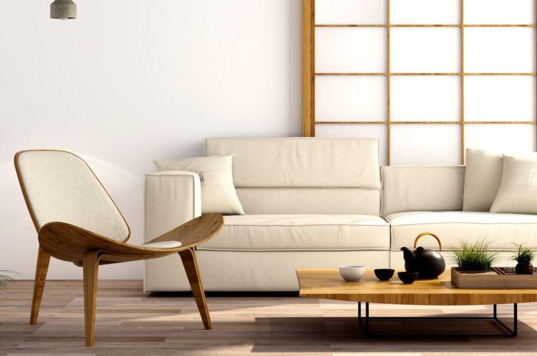 Salon avec panneaux japonais